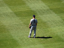 Rode Sox Outfielder JD trok tribunes in outfield Royalty-vrije Stock Foto