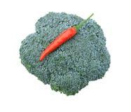 Rode Spaanse peper met broccoli Royalty-vrije Stock Fotografie