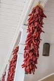 Rode Spaanse peperpeper die in openlucht met witte kolommen hangen stock afbeeldingen