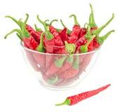 Rode Spaanse peperpeper in geïsoleerde glaskom Royalty-vrije Stock Afbeeldingen