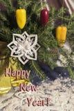 Rode Spaanse peperpeper op Nieuwjaar` s bont-boom, sneeuwvlok Stock Afbeeldingen