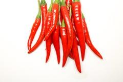 Rode Spaanse peperpeper op witte achtergrond geïsoleerde verse hete Spaanse peper Stock Fotografie