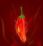 Rode Spaanse peperspeper in brand Royalty-vrije Stock Afbeeldingen