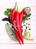 Rode Spaanse peperspeper en kruiden Stock Fotografie