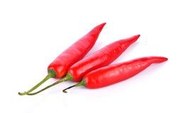 Rode Spaanse peperspeper op witte achtergrond Royalty-vrije Stock Afbeelding