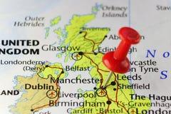 Rode speld op Manchester, Engeland, het UK Stock Fotografie