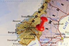 Rode speld op Oslo Noorwegen Stock Afbeelding