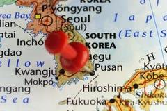 Rode speld op Pusan, Zuid-Korea Stock Foto