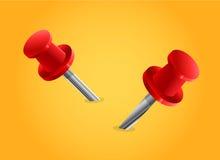 Rode speldvector op gele achtergrond, rode speldvector Royalty-vrije Stock Foto's