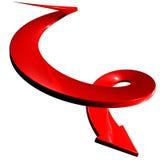 Rode spiraalvormige pijl onderaan 3D richting stock illustratie