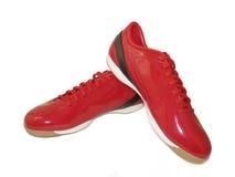 Rode sportschoenen Stock Afbeelding