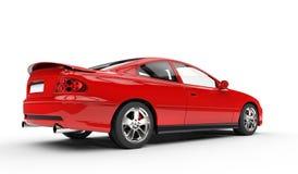 Rode Sportwagen - Achtergevelmening Stock Foto