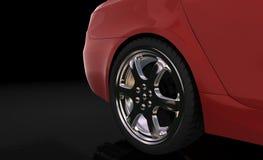 Rode sportwagen, achterwiel Royalty-vrije Stock Foto's