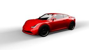 Rode sportwagen die op wit wordt geïsoleerdg royalty-vrije stock afbeeldingen