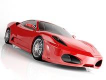 Rode sportwagen op witte achtergrond Stock Foto