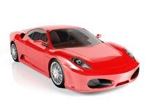 Rode sportwagen op witte achtergrond Stock Afbeelding