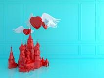 Rode St Basilicum` s Kathedraal met rood hart in blauwe ruimte Liefdetra Stock Foto
