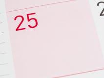 Rode 25ste datum van de maand Royalty-vrije Stock Foto's