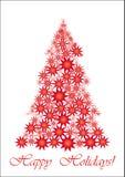 Rode Sterrige Kerstboom Stock Afbeeldingen