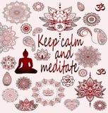 Rode stickers van Boeddhisme, yoga, mandala De reeks van Boedha Royalty-vrije Stock Foto