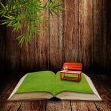 Rode stoel in het open boek Stock Foto's