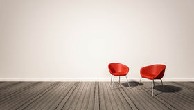 Rode stoelen in binnenlandse ruimte Stock Foto