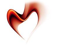 Rode stroom van liefde die een hart vormt Stock Afbeelding