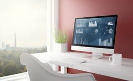 rode studio met de computer van de statistiekensoftware Royalty-vrije Stock Afbeelding