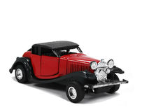 Rode stuk speelgoed auto Stock Foto
