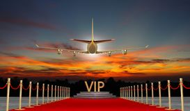 Rode tapijt Privé straal met Luxevip royalty-vrije stock afbeelding
