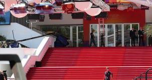 Rode Tapijttrap in Palais Des Festivals Et Des Congres In Cannes stock footage