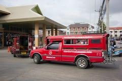 Rode taxi Chiang Mai, voor Passagier van Busstation Royalty-vrije Stock Foto