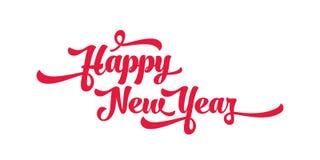 Rode tekst op een witte achtergrond Het gelukkige van letters voorzien van het Nieuwjaar Royalty-vrije Stock Foto