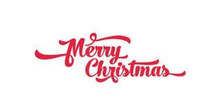 Rode tekst op een witte achtergrond Het vrolijke van letters voorzien van Kerstmis Stock Fotografie