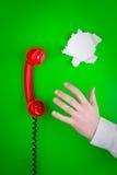 Rode telefoon, documenten en hand Royalty-vrije Stock Afbeeldingen