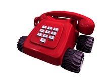 Rode telefoon op wielen Royalty-vrije Stock Afbeeldingen