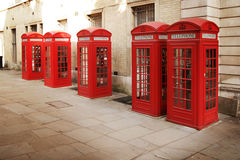 Rode telefooncellen Stock Fotografie