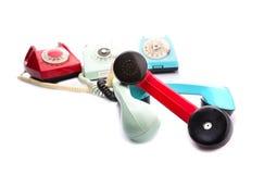 Rode telefoons op wit Stock Afbeelding