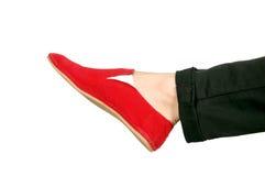 Rode tennisschoenen één Royalty-vrije Stock Fotografie