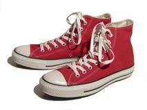 Rode tennisschoenen Stock Foto's