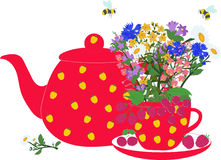 Rode theepot en kop met kruiden en bessen Royalty-vrije Stock Afbeelding