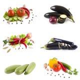 Rode tomaat en groene komkommer De bittere peper met kruiden en schreeuwt Stock Fotografie