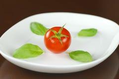 Rode tomaat met basilicumbladeren op witte ovale plaat Royalty-vrije Stock Afbeeldingen