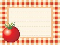 Rode tomaat op geruite achtergrond stock illustratie
