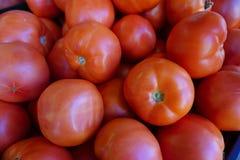 Rode tomaten bij een markt Stock Afbeelding