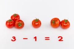 Rode tomaten en aantallen Royalty-vrije Stock Afbeeldingen
