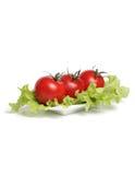Rode tomaten met sla op plaat Stock Afbeelding