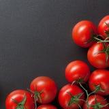 Rode tomaten op blac Stock Fotografie