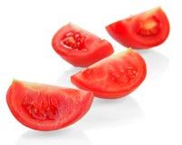 Rode tomatenplakken Stock Fotografie