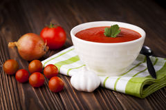 Rode tomatensoep Royalty-vrije Stock Afbeelding